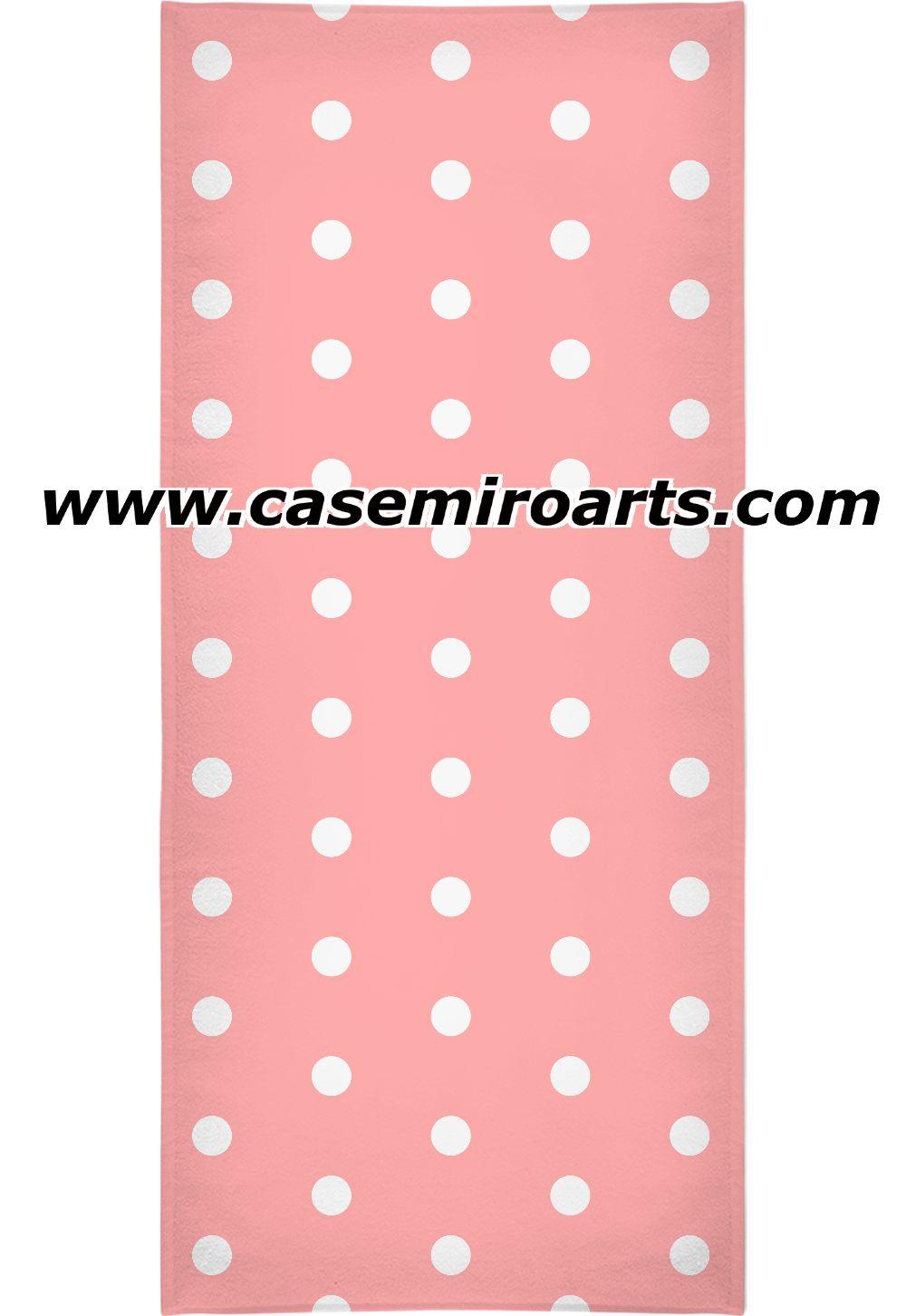 Retro Style Beach Bath Towel Salmon Pink And White Polka Dot