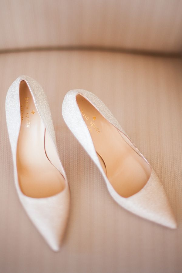 Glittery White Kate Spade Bridal Shoes | Royce Sihlis Photography and Created Lovely Events | Sparkling Blush and Champagne Wedding in an Apple Orchard