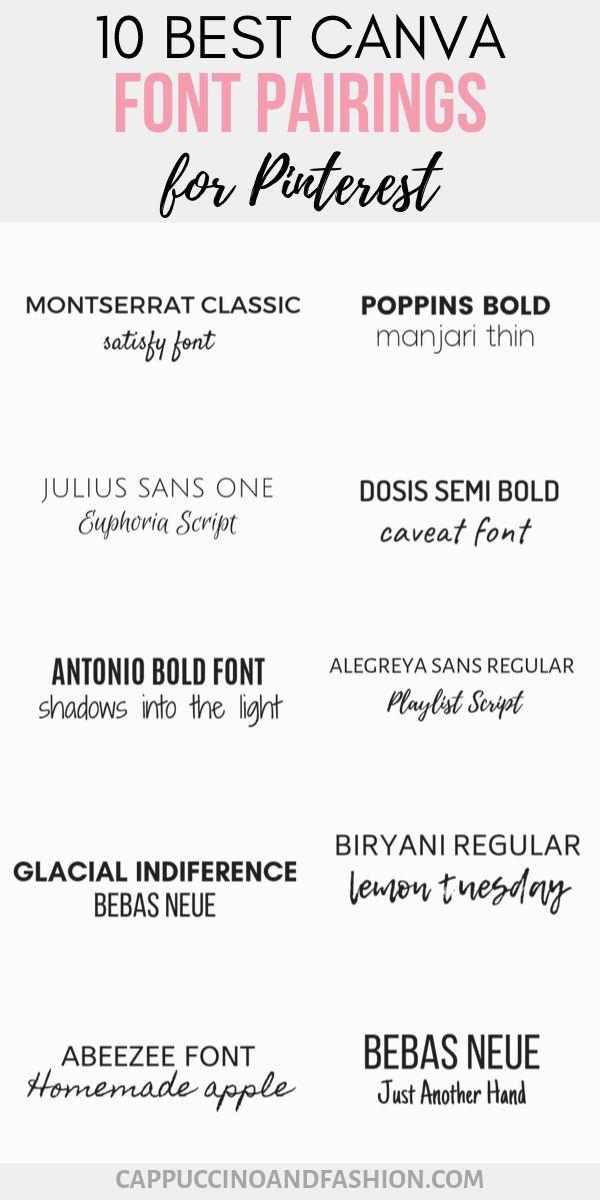 10 Best Canva Font Pairings - Free Pinterest Fonts