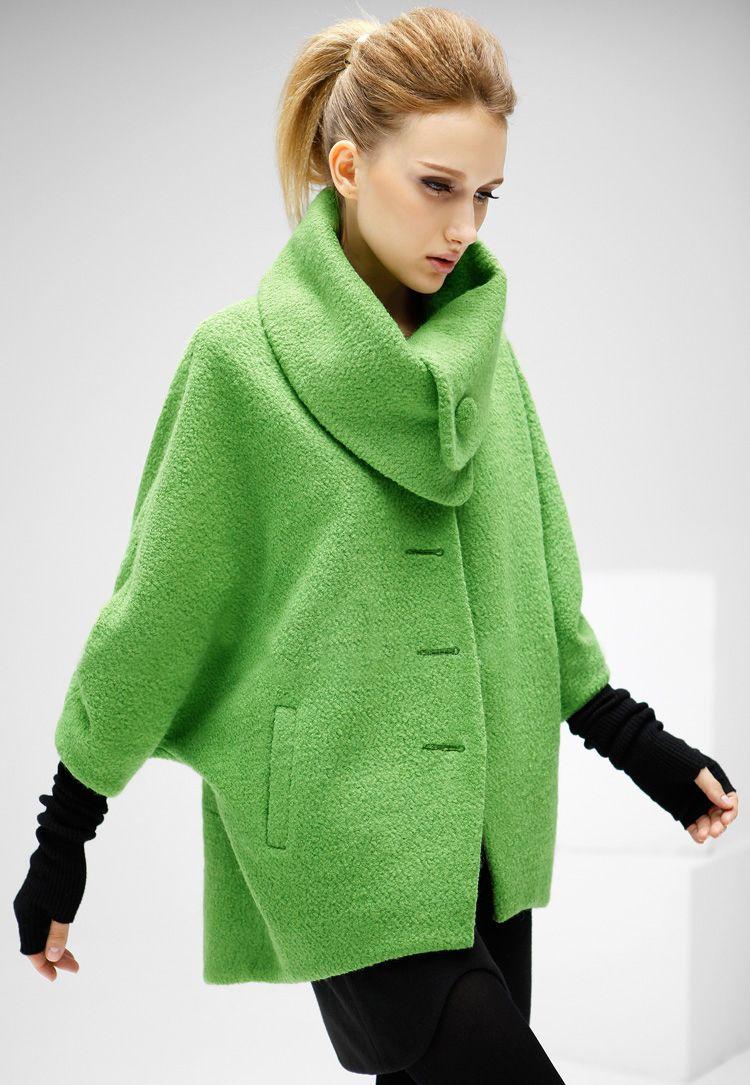 ¡Abrigo de lana solapa manga muriciélago-verde 35.01 ¿por que olvidar el  color en invierno  verde esperanza! 59749f0d75bf