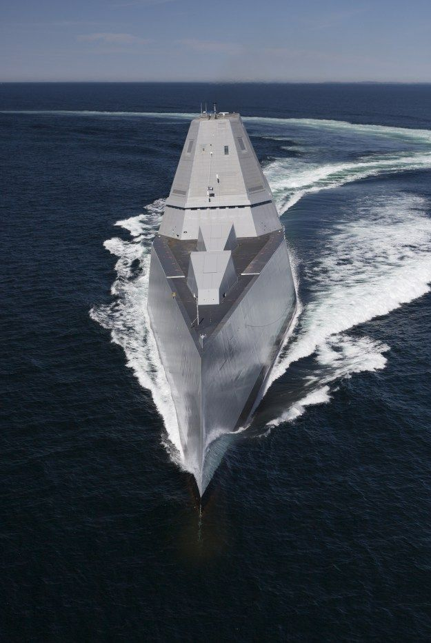 Destroyer Zumwalt (DDG-1000) transits the Atlantic Ocean during acceptance trials with the Navy's Board of Inspection and Survey (INSURV). US Navy Photo General Dynamics Bath Iron Works delivered the first Zumwalt-class guided missile destroyer to the Navy on Friday, Naval Sea Systems Command announced. The delivery of the 16,000-ton Zumwalt (DDG-1000) optimized for stealth and operations close to shore follows last month's successful acceptance trials of the ship.