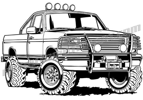 Ford F 150 Black Line Illustration Cars Coloring Pages Tractor