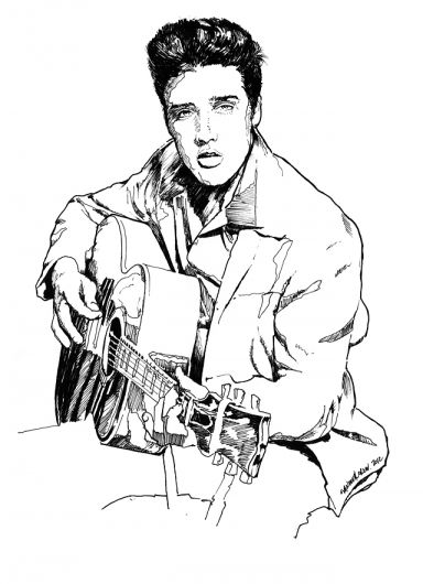 Sandovalcrew Illustrationblacknwhite Elvis Presley The King Of