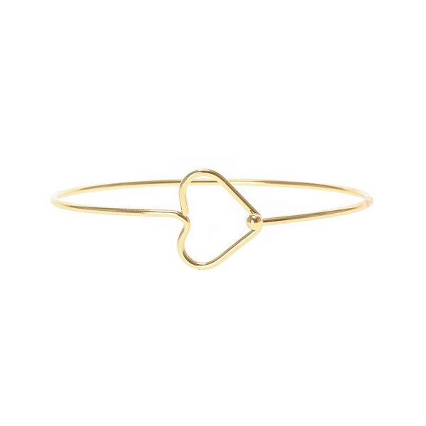 Claire's - Product Details (310 NOK) ❤ liked on Polyvore featuring open heart jewelry, wire bangles, gold heart jewelry, heart jewellery and gold wire jewelry