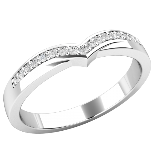A wishbone style diamondset weddingeternity ring in platinum