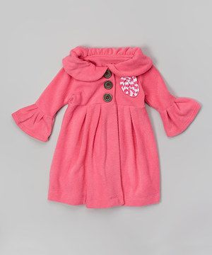 Hot Pink & White Rosette Swing Coat - Toddler & Girls by Ruby and Rosie #zulily #zulilyfinds