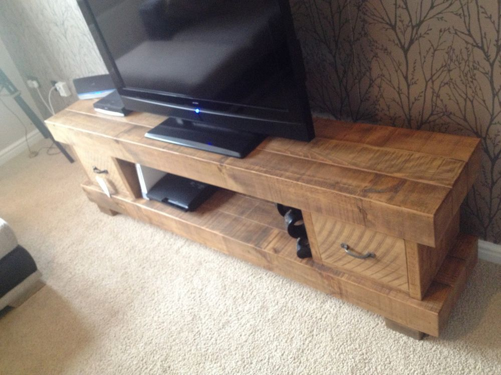 Huge 2m Extra Chunky Solid Wood Tv Unit Cabinet Stand Rustic Plank