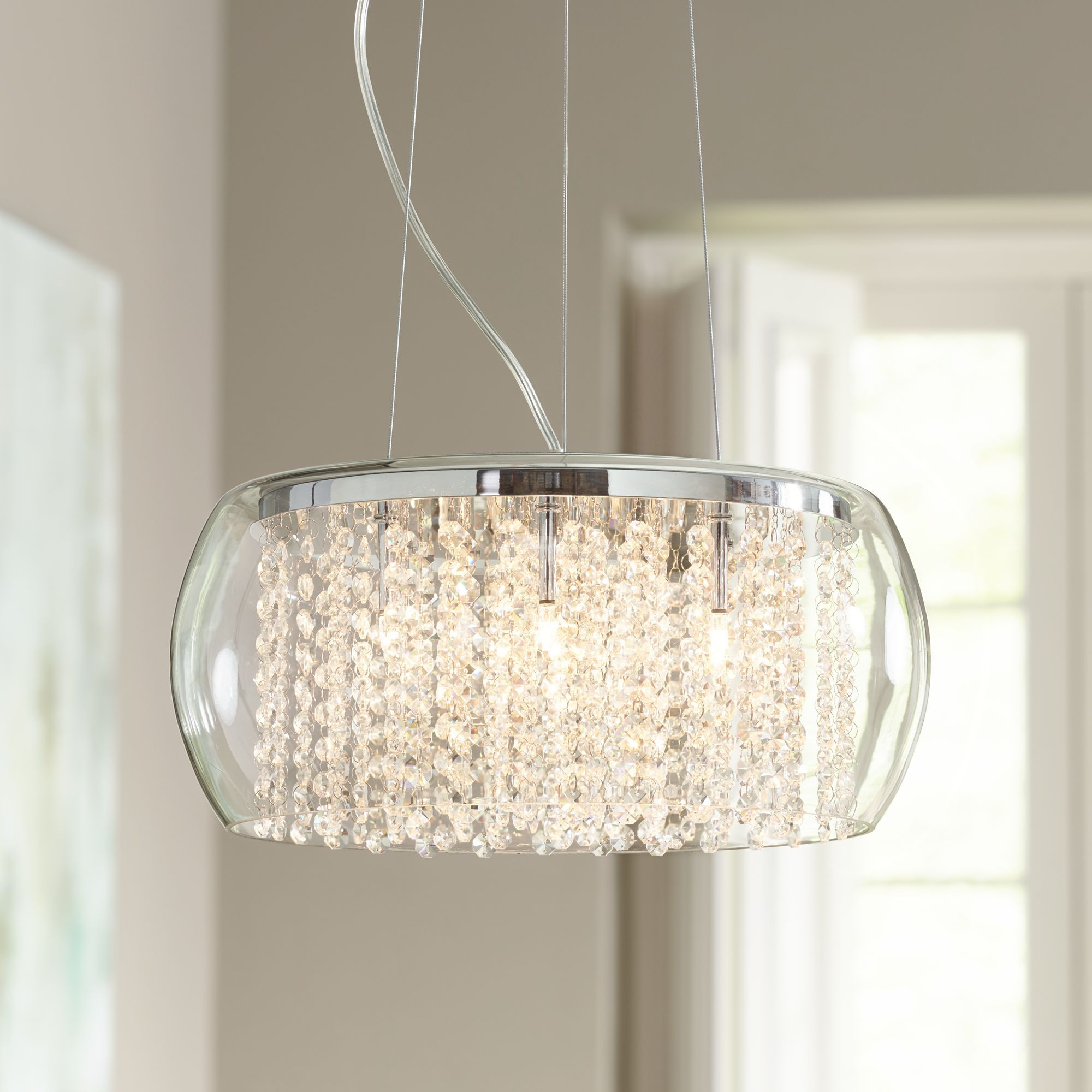 Possini Euro Design Rainfall Glass Drum Crystal Chandelier