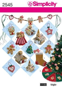 Christmas decorations ornaments, tree skirt Sewing Pattern 2545 Simplicity