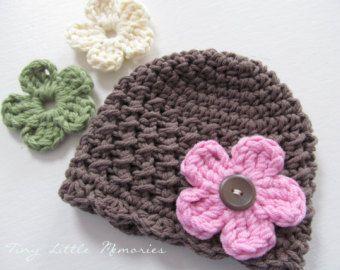 Kleinkind Baby Mütze Mit Austauschbaren Blumen Farbe Ihrer Wahl