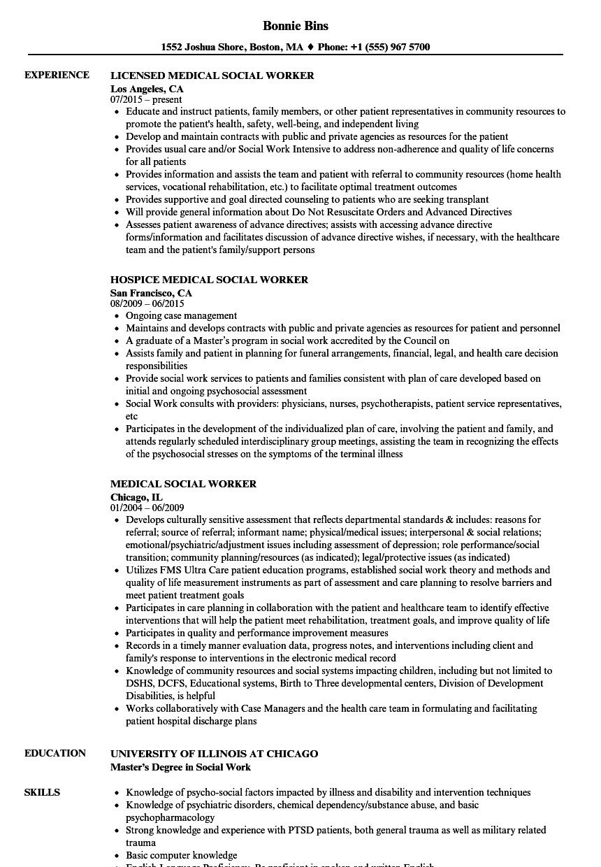 Resume for social Work Best Medical social Worker Resume