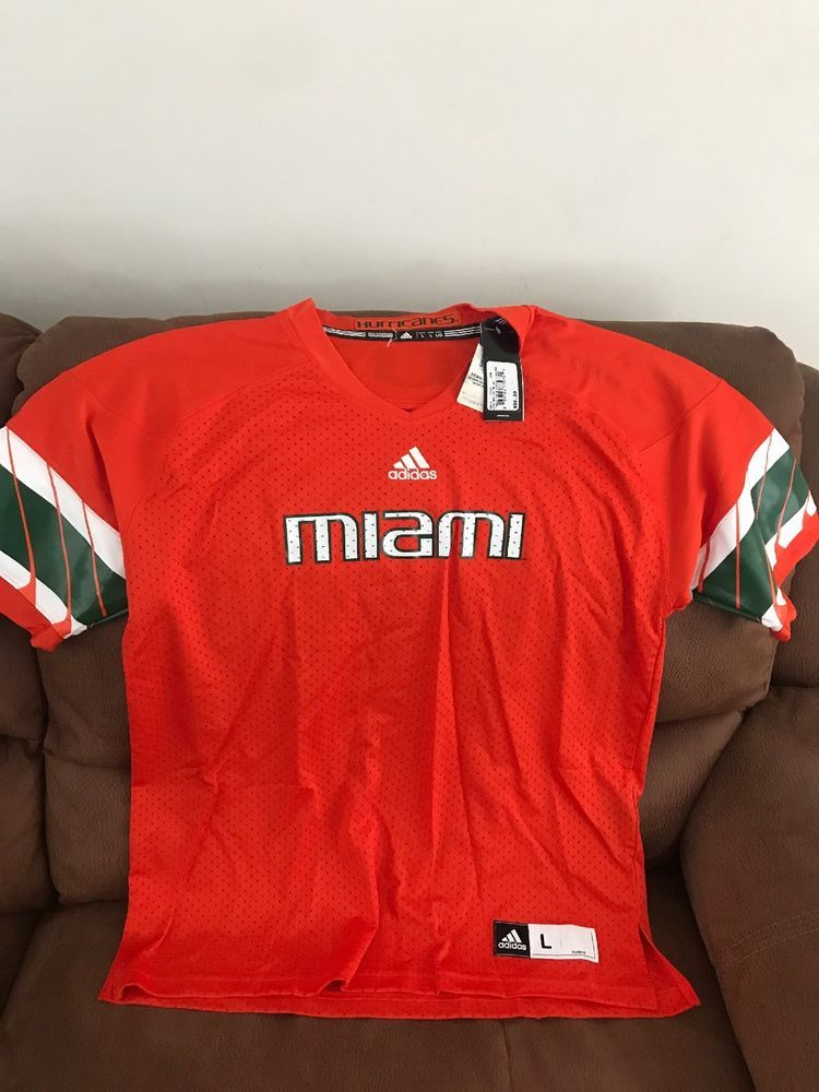 Adidas Miami Hurricanes U M Ncaa Football Blank Orange Jersey NWT Size L Men   711a64f30