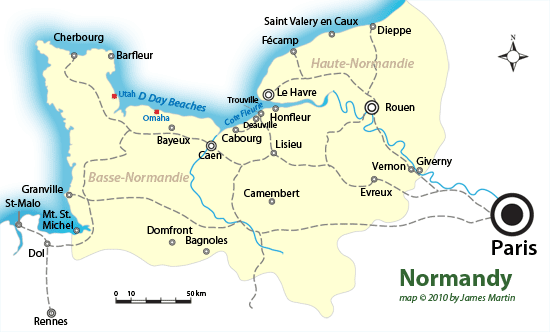 Map From Paris To Giverny Bayeux And Mont St Michel History