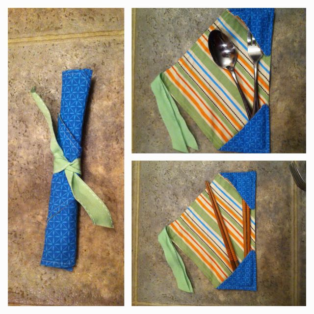 """Chopstick case (or picnic utensils). I whipped this up 30 minutes before hubby and I went on our sushi date! Two 12in x 12in squares will make 2 cases, you cut squares diagonally. then take 2 of the triangles and place """"right sides"""" together with the ribbon sandwiched in between (poking out enough to sew through on the """"odd corner""""). Sew, leaving a gap to flip inside out. Top stitch around, then fold the corners in to your desired length (can leave 1 corner free to have more adjustable…"""