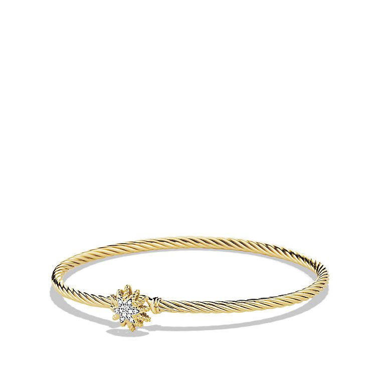 Starburst Single-Station Cable Bracelet with Diamonds in Gold