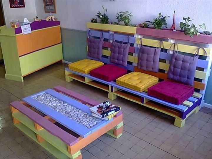 Colorful Pallet Sofa With Planter And Pallet Coffee Table With Pebble Inlay  (720×540) | Patio Furniture | Pinterest | Pallet Sofa, Pallets And Unique