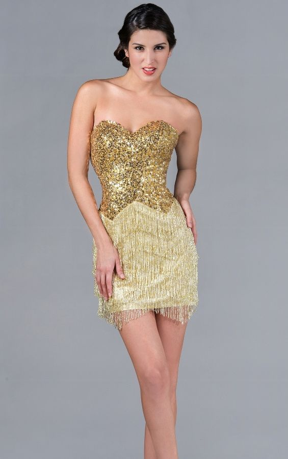 Gold Sequined Cocktail dress #SequinSexyDress #sequined #eveninggown ...