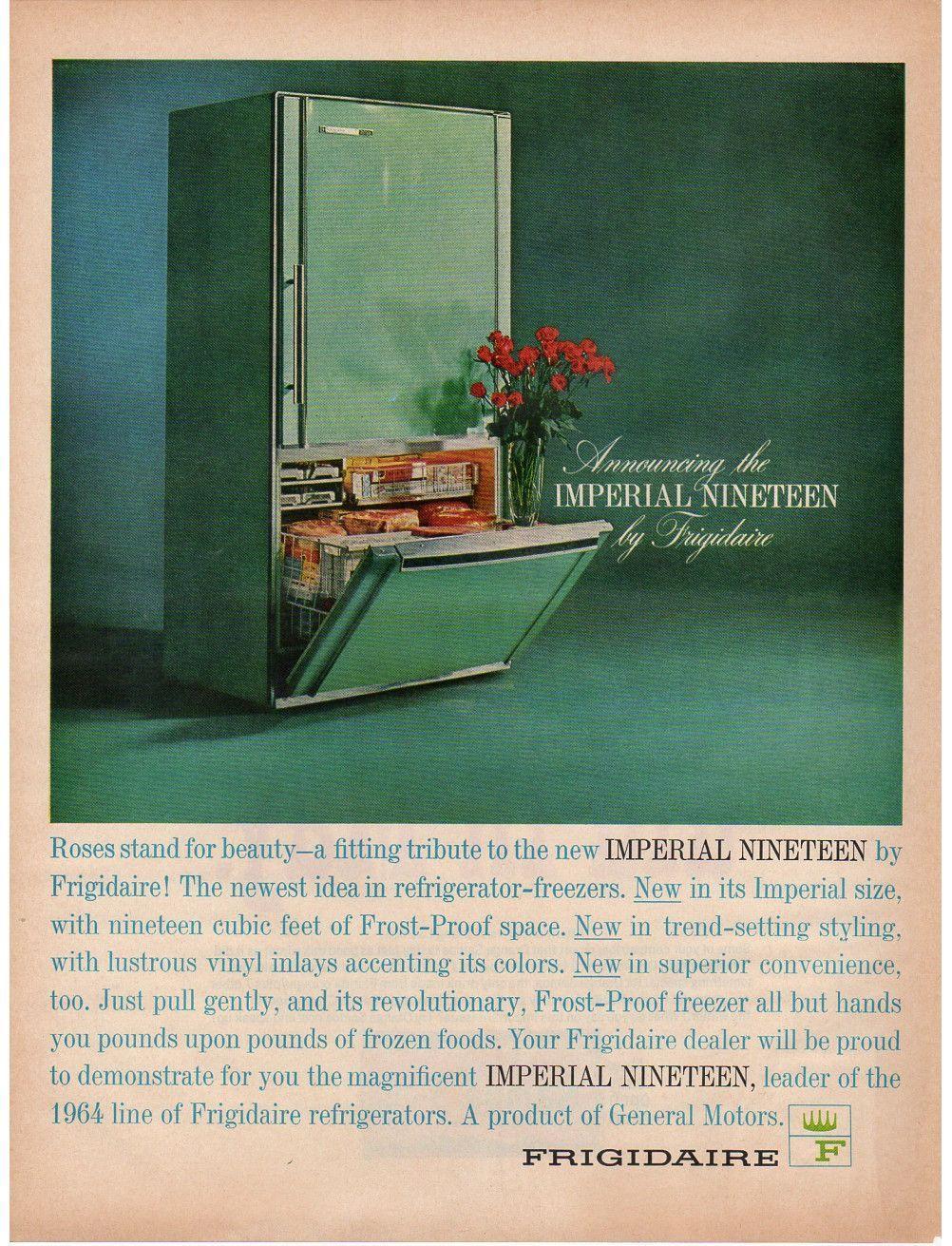 1964 Frigidaire Magazine Paper Print Ad Turquoise Refrigerator