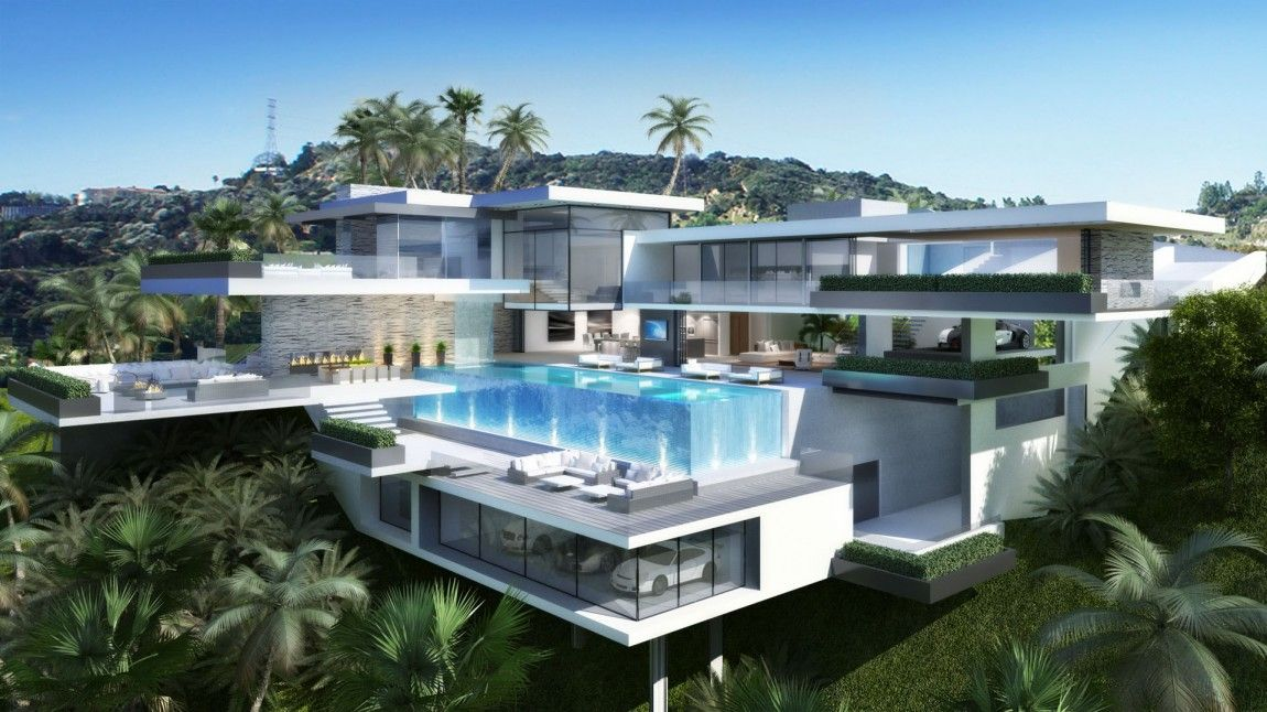 Two Modern Mansions on Sunset Plaza Drive in LA by Ameen Ayoub - Plan De Maison Originale
