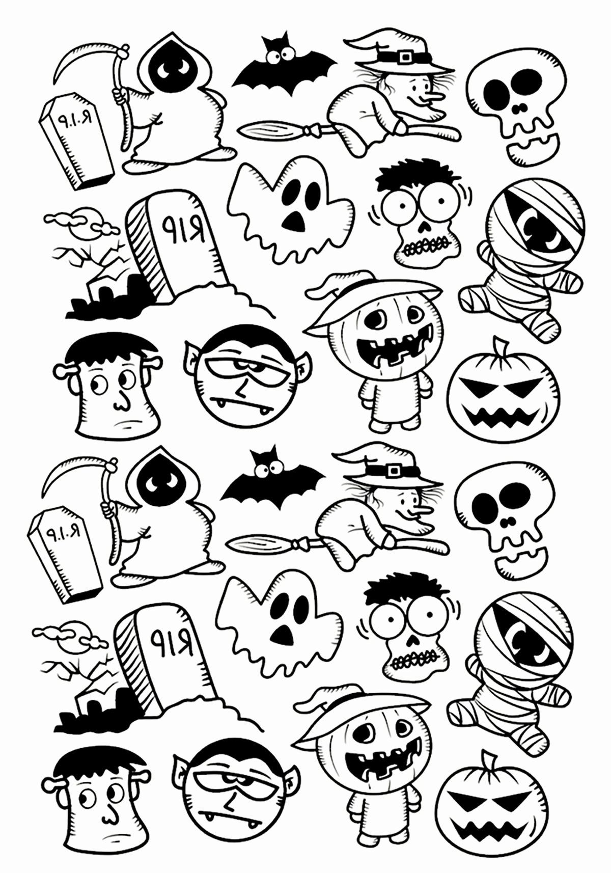 27 Halloween Adult Coloring Book Easy halloween drawings