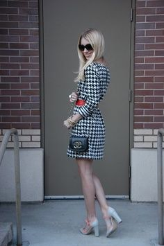 Houndstooth Dress With Wide Red Belt and White High Heels