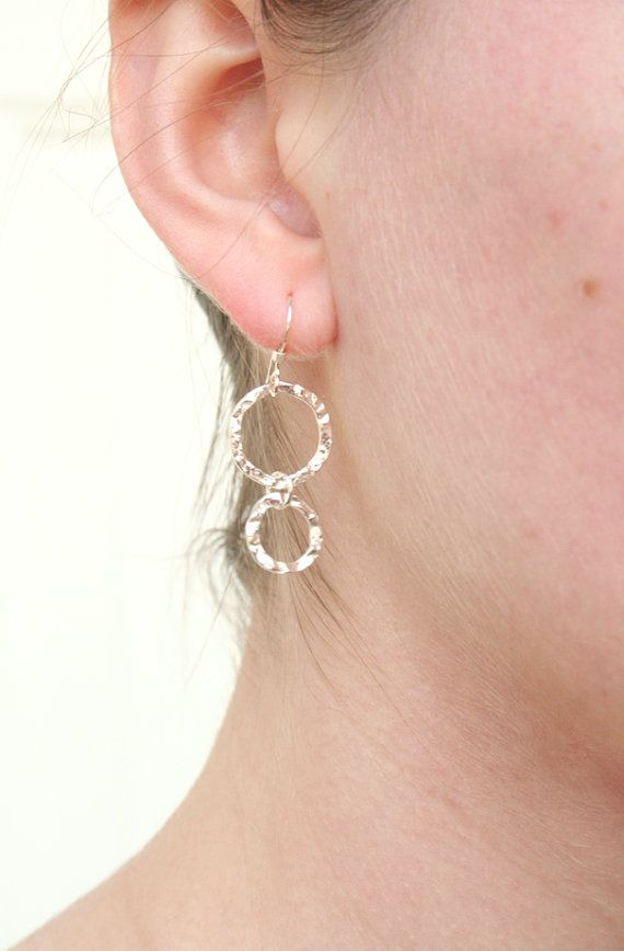 Simplistic Double Sterling Circle Earrings by TwoLittleDoves, $21.00