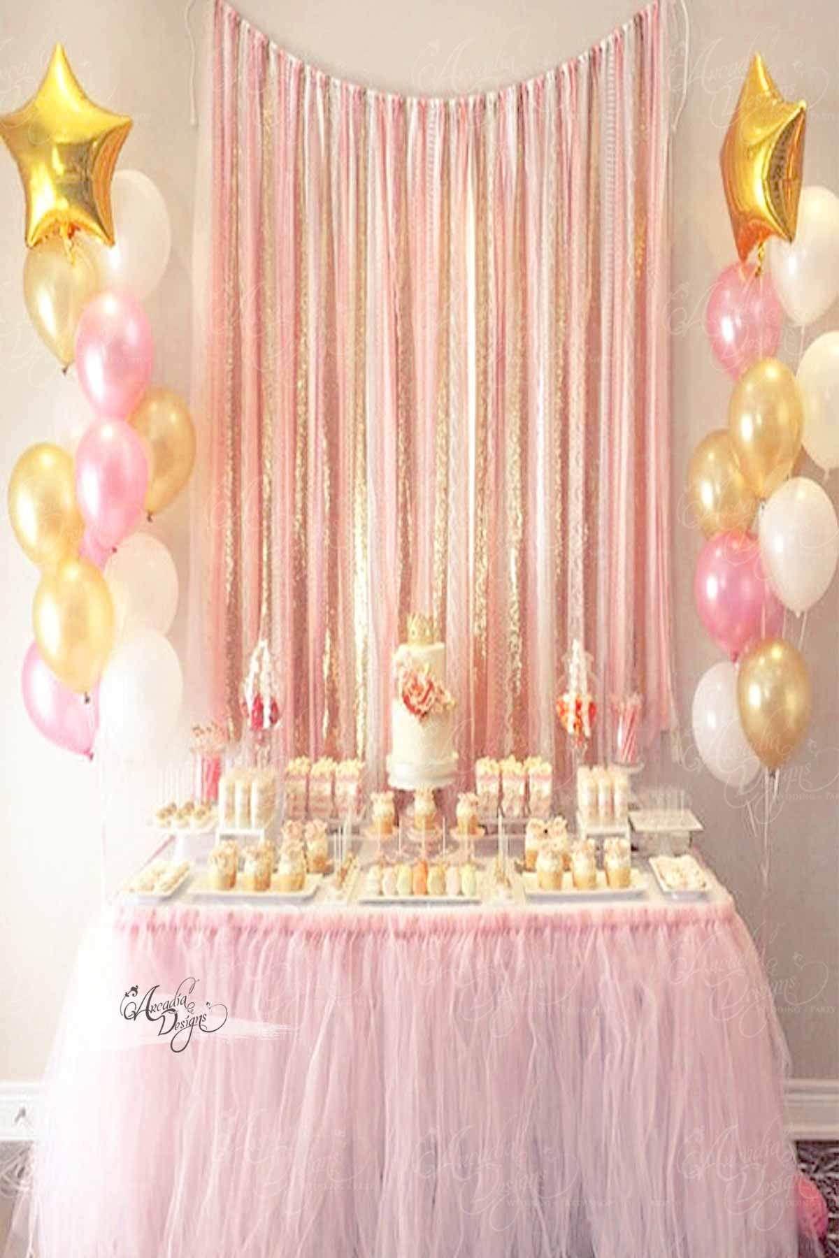 Blush Pink Gold Tassel Backdrop Pink Gold Birthday Party Gold Birthday Party Birthday Table