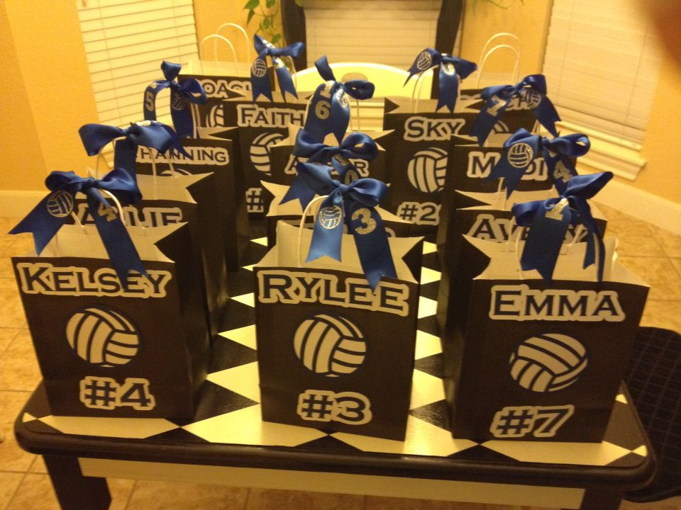 Volleyball Treat Bags Ribbons Volleyball Locker Decorations Volleyball Team Gifts Volleyball Crafts