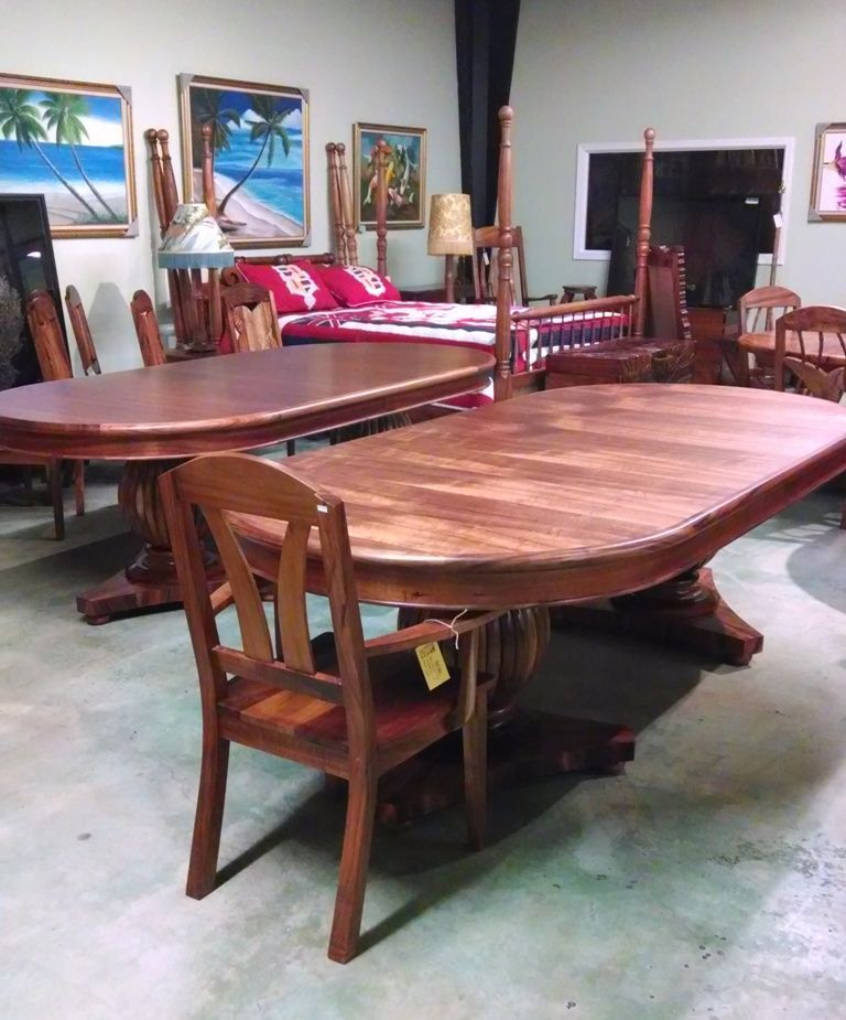 Solid Hawaiian Koa Fluted Base Dining Tables For At