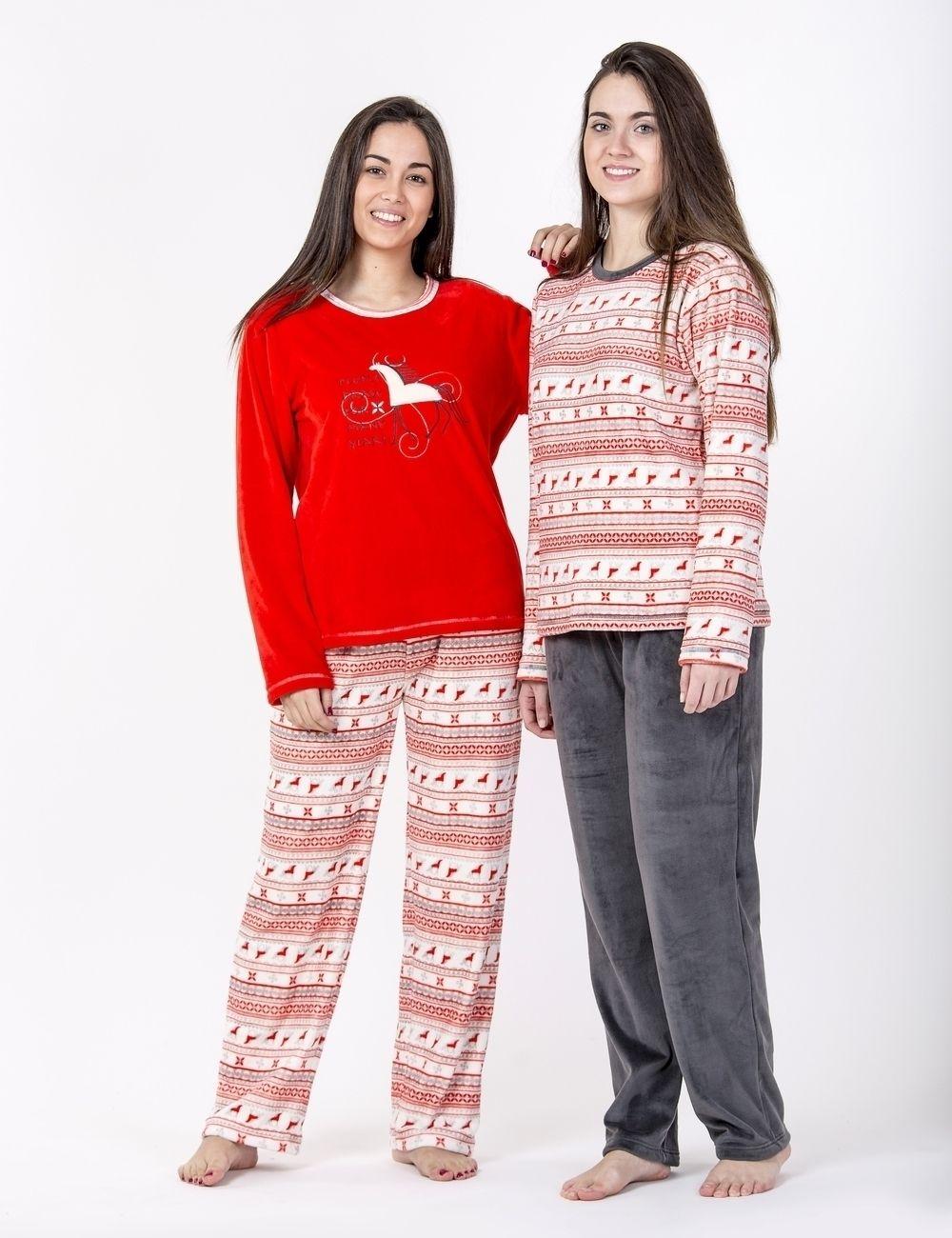 pijama invierno señora chica mujer rojo gris polar caballo diseño rayas 338722464e50