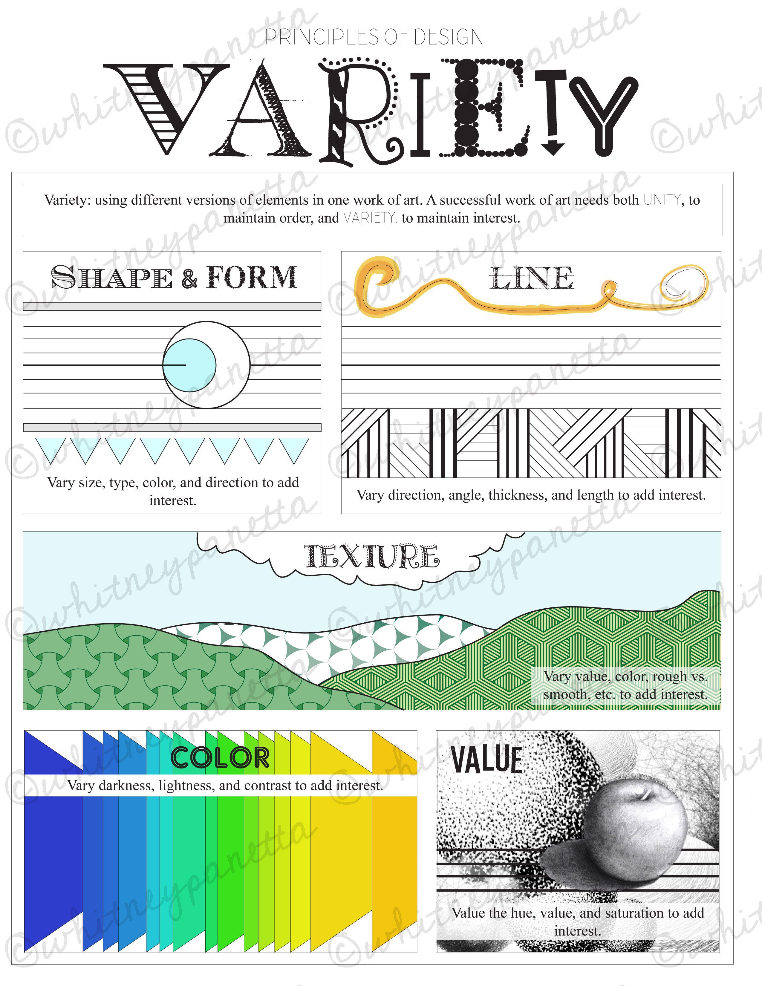Variety Principles Of Design Printable Worksheet For Art
