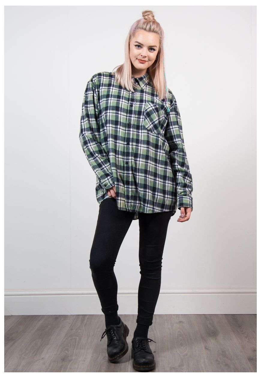 90s women fashion flannel  Vintage us Green Check Flannel Shirt  The Vintage Scene  ASOS