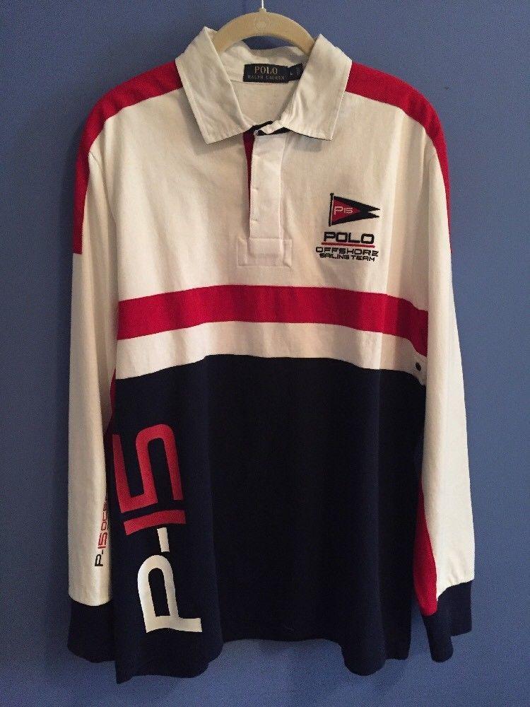 3a62823aa Ralph Lauren Polo P15 Off Shore Sailing Team Long Sleeve Rugby Shirt Men  Size L  RalphLauren  PoloRugby