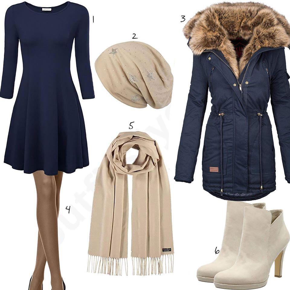 frühlings-damenoutfit 2020 mit blauem kleid und jacke