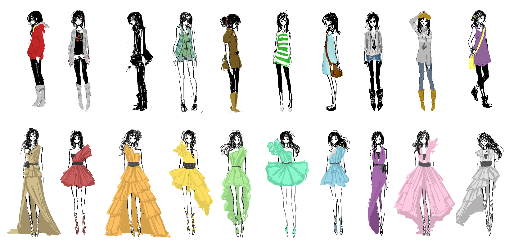 Scribble Fashion By Yamiaki Deviantart Com On Deviantart Drawing Anime Clothes Anime Outfits Fashion Illustration