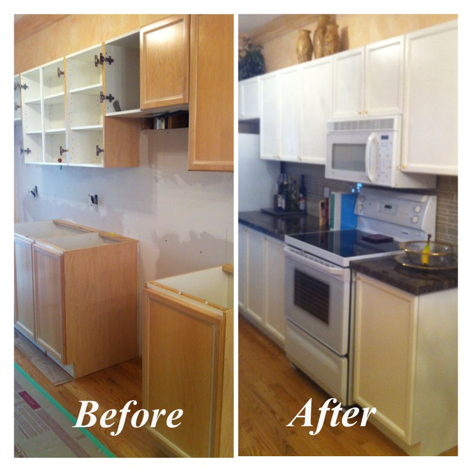 "Repainting Old Kitchen Cabinets: Kitchen Cabinets Refinished In Benjamin Moore ""Crisp Linen"