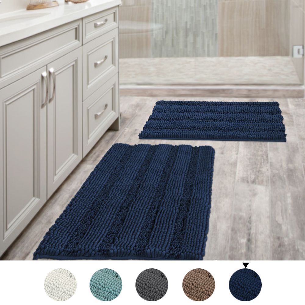 Navy Blue Bathroom Rugs Slip Resistant Extra Absorbent Soft And Fluffy Thick Striped Washable Bath Mat Non Slip Microfiber Shag Floor Mat Dry Fast Waterproof Ba In 2020 Blue Bathroom Rugs Navy