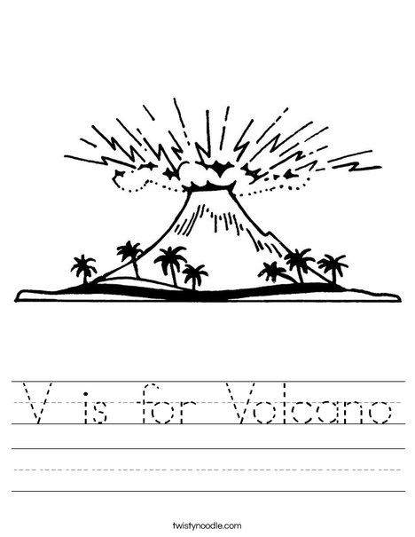 V is for Volcano Worksheet - Twisty Noodle LETTER V Pinterest - best of shield volcano coloring pages
