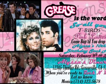 Set of 8 grease inspired birthday invitations grease party explore grease party personalized invitations and more stopboris Choice Image