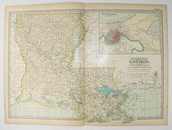Vintage Map Louisiana 1899 Gulf Coast State Map, Antique Louisiana ...