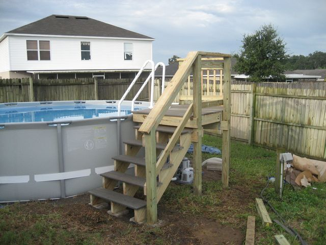 Pool deck for intex pool thread my intex 16x48 with for Above ground pool ladder ideas