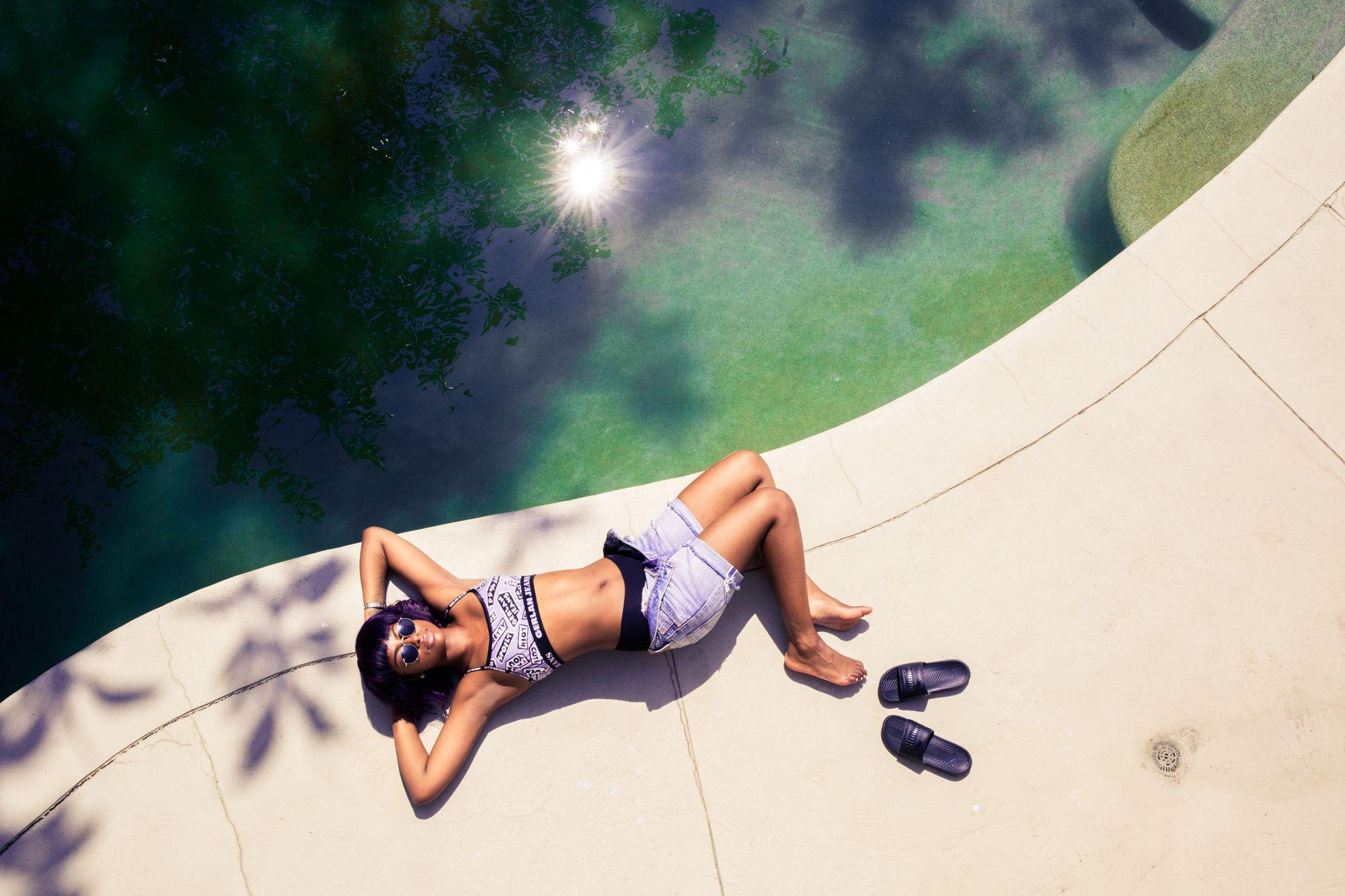 Poolside in LA.