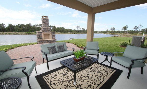 Laurel New Home Plan in Treviso Bay  Classic Homes. The covered lanai at the Serenata model in Madeira   Lennar Homes