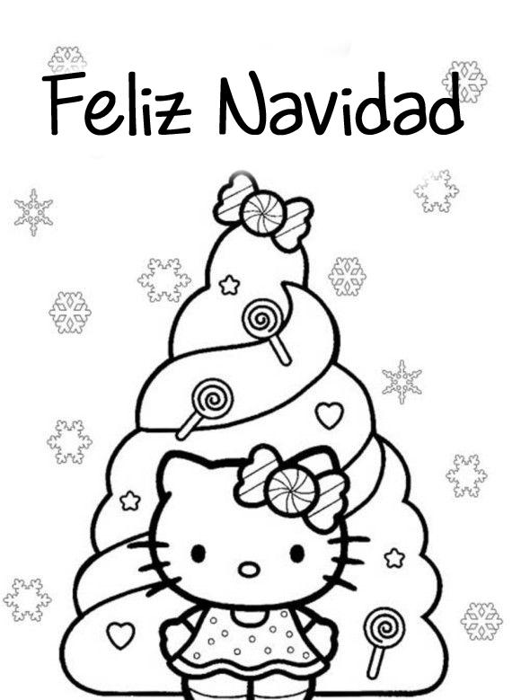 Hello Kitty En Navidad Dibujos De Hello Kitty Hello Kitty Para Colorear Páginas Para Colorear De Navidad