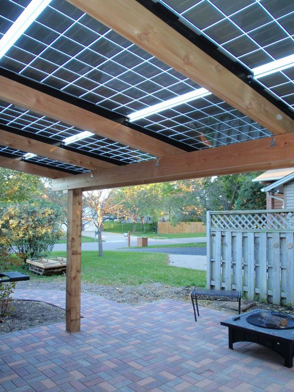 The Silicon Energy Mn Panels Glass On Glass Construction Let Just The Right Amount Of Light Through That Make It Th Solar Patio Solar Pergola Solar Roof Tiles