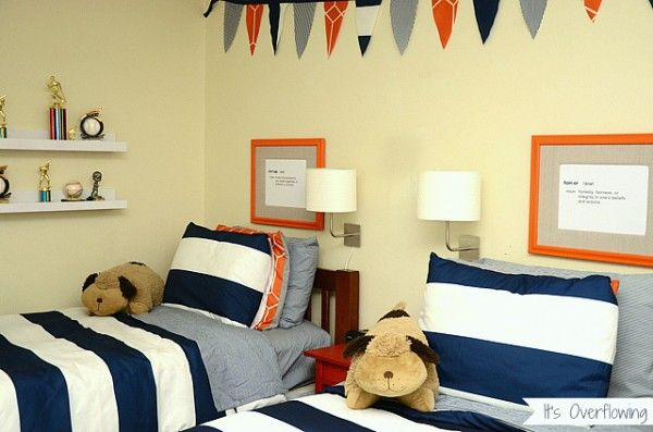 Navy And Orange Boys Budget Room  Budget Bedroom Budgeting And Adorable Kids Bedroom Ideas On A Budget Inspiration