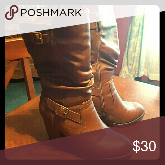 Leather Boots Barely Worn. Leather Healed Boots. Maurices Shoes Heeled Boots