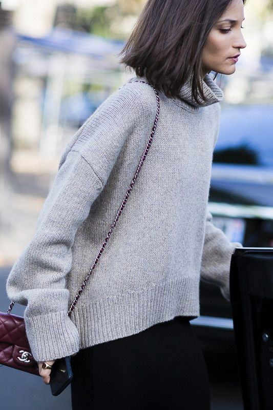 Cropped Turtleneck Sweater | High low, Gray and Clothes
