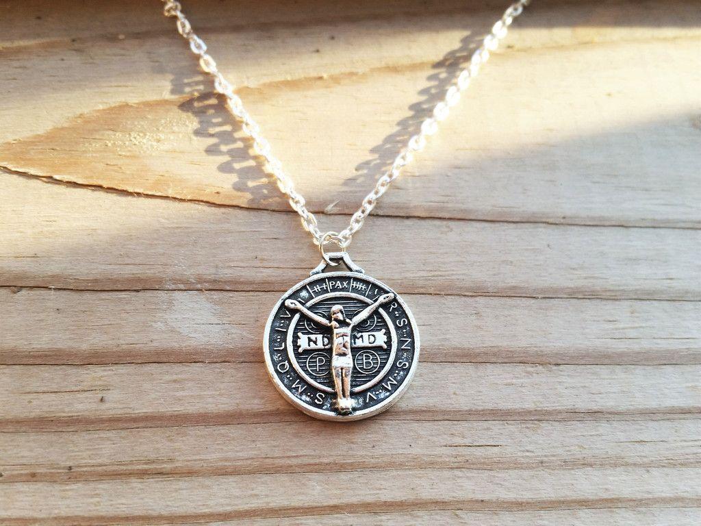 Silver Saint Benedict Medalla San Benito Pendant Charm 18 Necklace Pendant Antique Silver Engraved Pendant