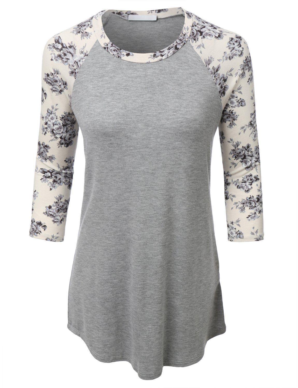 02b9f7372dcd7 Amazon.com  RubyK Womens Lightweight Round Neck 3 4 Sleeve Raglan Baseball  T Shirt  Clothing